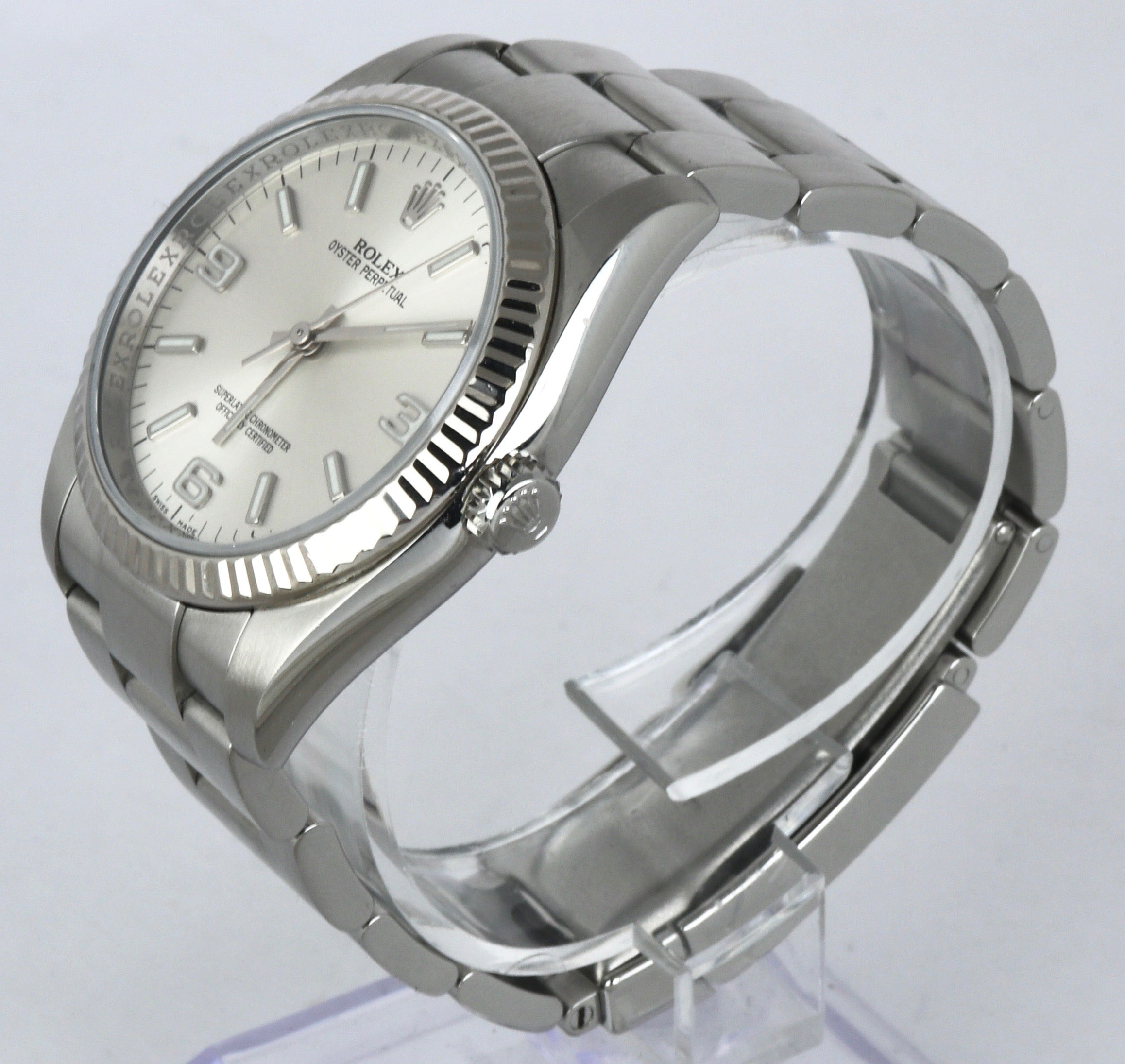 MINT Rolex Oyster Perpetual 36 Silver 116034 Stainless Steel 36mm 18K White Gold