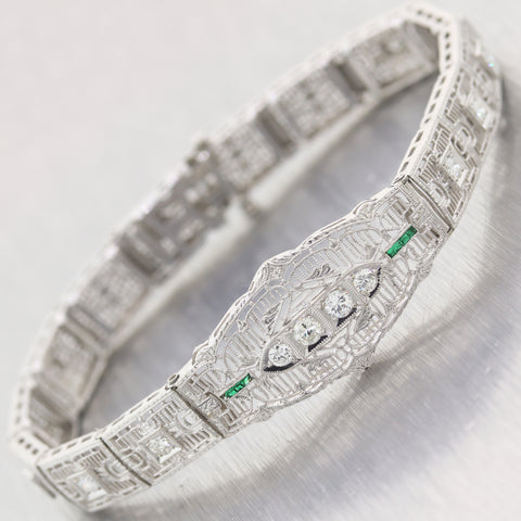1930's Antique Art Deco 14k White Gold 1ctw Diamond & Emerald Filigree Bracelet