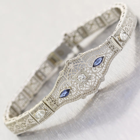 1930 Art Deco 14k White Gold .50ct Marquise Sapphire & Diamond Filigree Bracelet