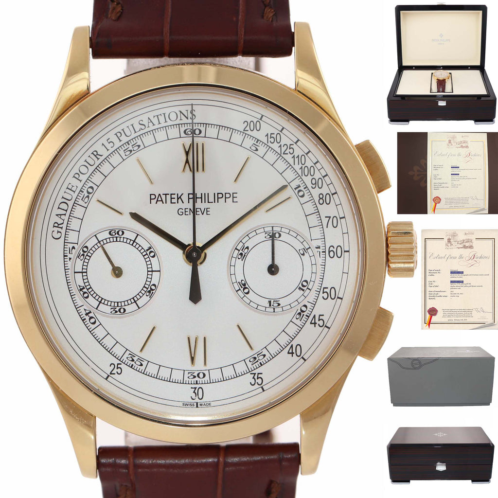 PAPERS Patek Philippe 5170J Chronograph 18k Yellow Gold 39.5mm Calatrava Clasp Watch
