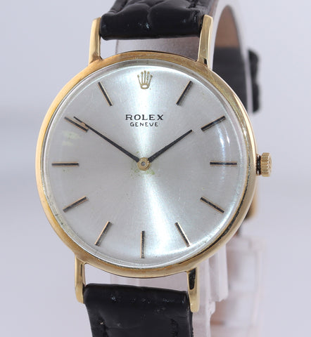 Vintage Rolex Geneve 3601 Solid 14k Yellow Gold 30mm Manual Wind Watch
