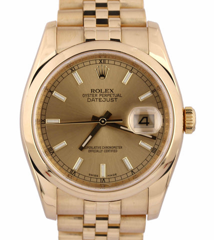 2005 Rolex Oyster Perpetual Datejust 18k Yellow Gold 36mm 116208