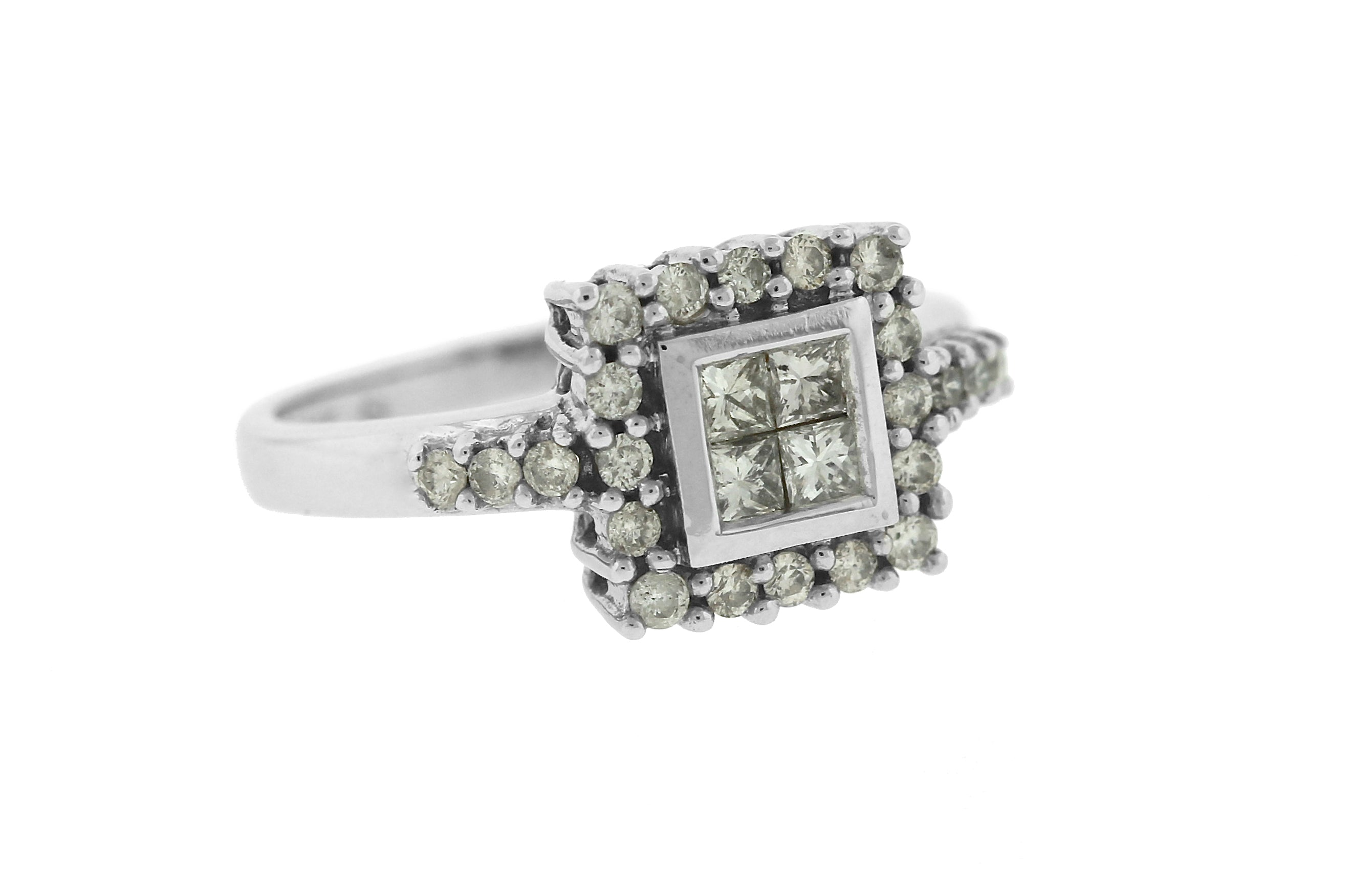 Invisible Setting 14K White Gold Diamond 0.50CTW Engagement Ring Size 7