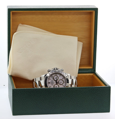 MINT 2015 SVC Rolex Daytona Cosmograph 116520 White Steel Watch Box Papers G8