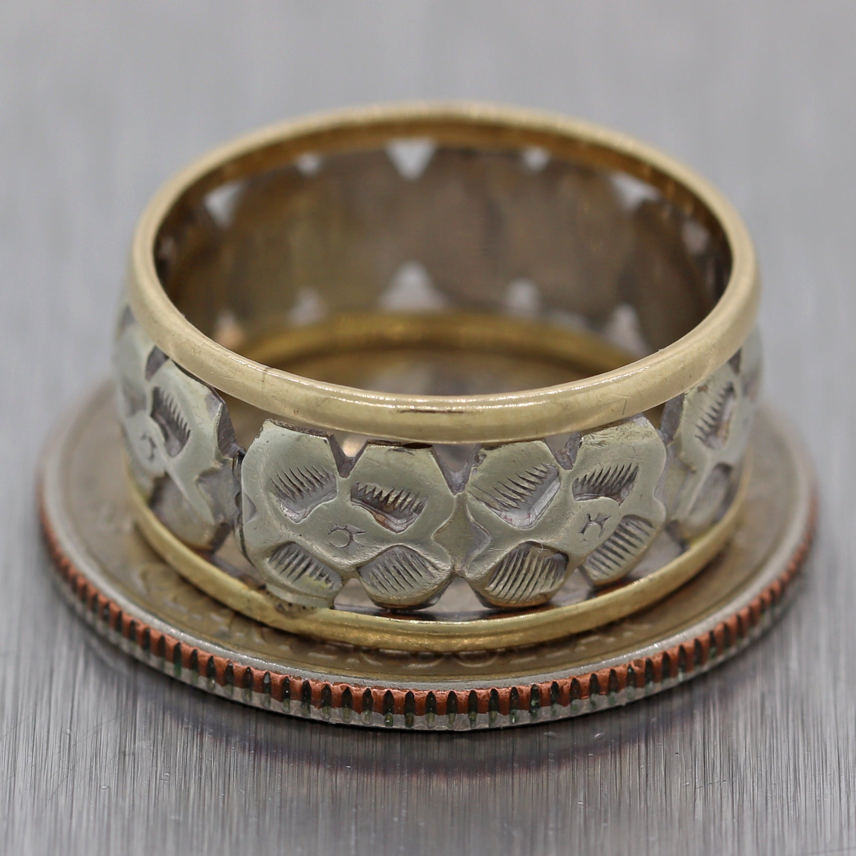 1930 Antique Art Deco 14k White Yellow Gold Engraved Filigree Wedding Band Ring