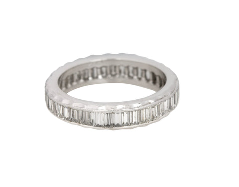 Women's 14K White Gold 0.92ctw Baguette Emerald Cut Diamond Eternity Band Ring