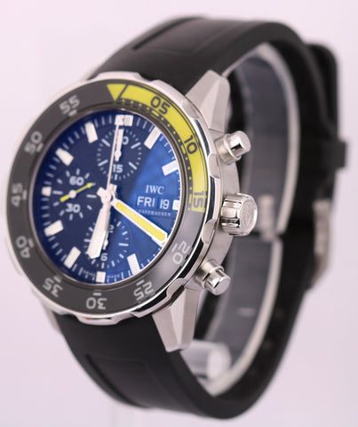 IWC Aquatimer Chronograph Black Yellow 44mm IW376702 3767 Auto Steel Dive Watch