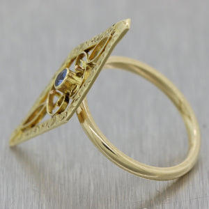 1890's Antique Victorian 14k Yellow Gold Blue Zircon Filigree Ring
