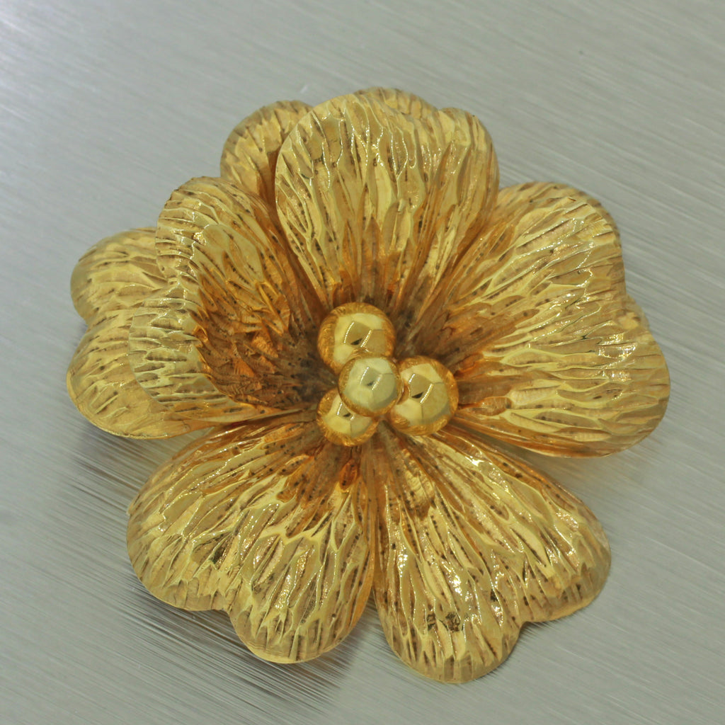 Rare Vintage Tiffany And Co 14k Solid Yellow Gold Flower Brooch Pin