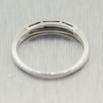 1940's Antique Art Deco 14k White Gold 0.20ctw Tapered Baguette Diamond Ring