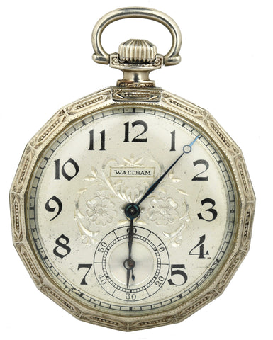 Waltham 14k White Gold Floral Etched Dial Pocket Watch 17J 12S Chronograph