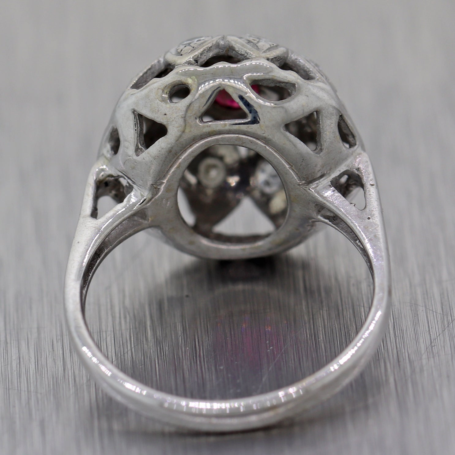 1930's Antique Art Deco 14k White Gold 0.27ctw Ruby & Diamond Dome Ring