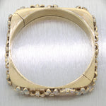 Vintage Estate 14k Yellow Gold 2.20ct Diamond Ruby Enamel Flower Bangle Bracelet