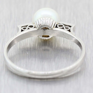 1930s Antique Art Deco Platinum 7mm Pearl Baguette Diamond Cocktail Ring F9