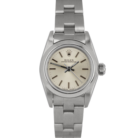 Mint Ladies Rolex Oyster Perpetual Silver Stick No Holes Oyster 24mm Watch 67180
