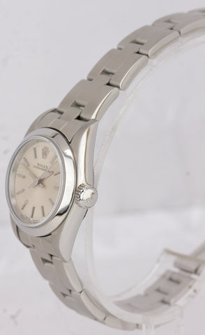 MINT Ladies Rolex Oyster Perpetual Silver Stick No-Holes Oyster 24mm Watch 67180