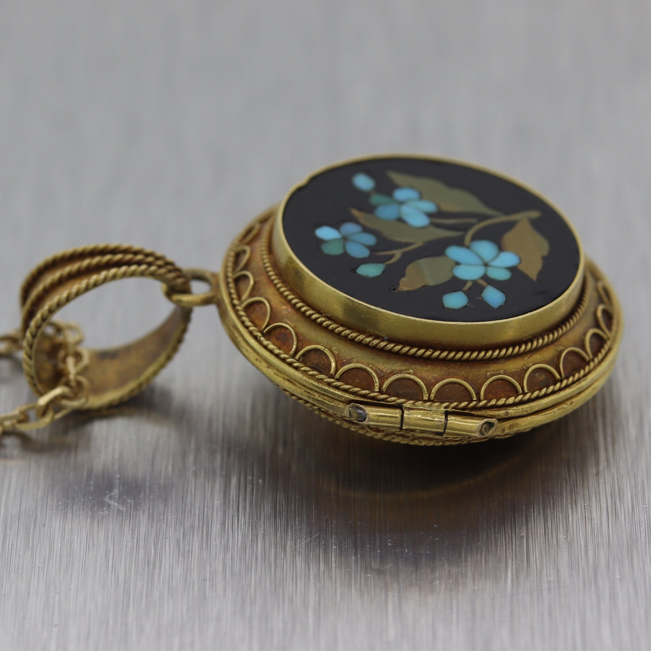 "1890's Antique Victorian 14k Yellow Gold Pietra Dura Baby Locket 24"" Necklace"