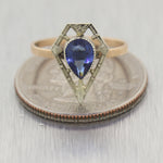 1930's Antique Art Deco 14k Yellow Gold & Platinum Synthetic Sapphire Ring