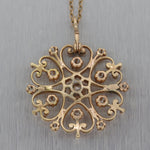 "1890's Antique Victorian 14k Yellow Gold 0.65ctw Diamond Filigree 16"" Necklace"