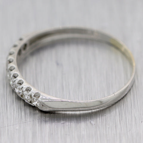 1930's Antique Art Deco Platinum 0.35ctw Diamond Wedding Band Ring