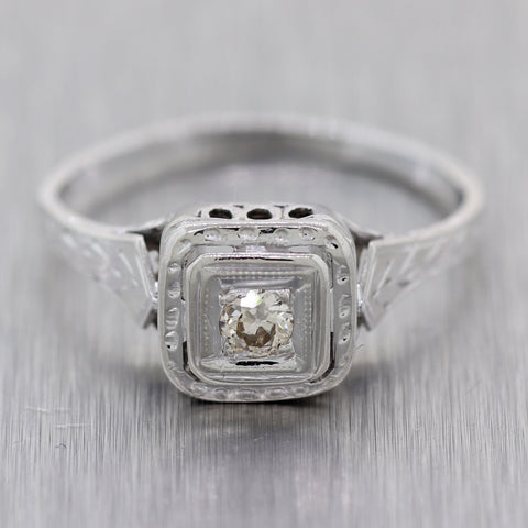 1930's Antique Art Deco 14k White Gold 0.15ctw Diamond Filigree Engagement Ring
