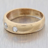 1890s Antique Victorian 14k Yellow Gold .25ctw Diamond Gypsy 5mm Band Ring B9