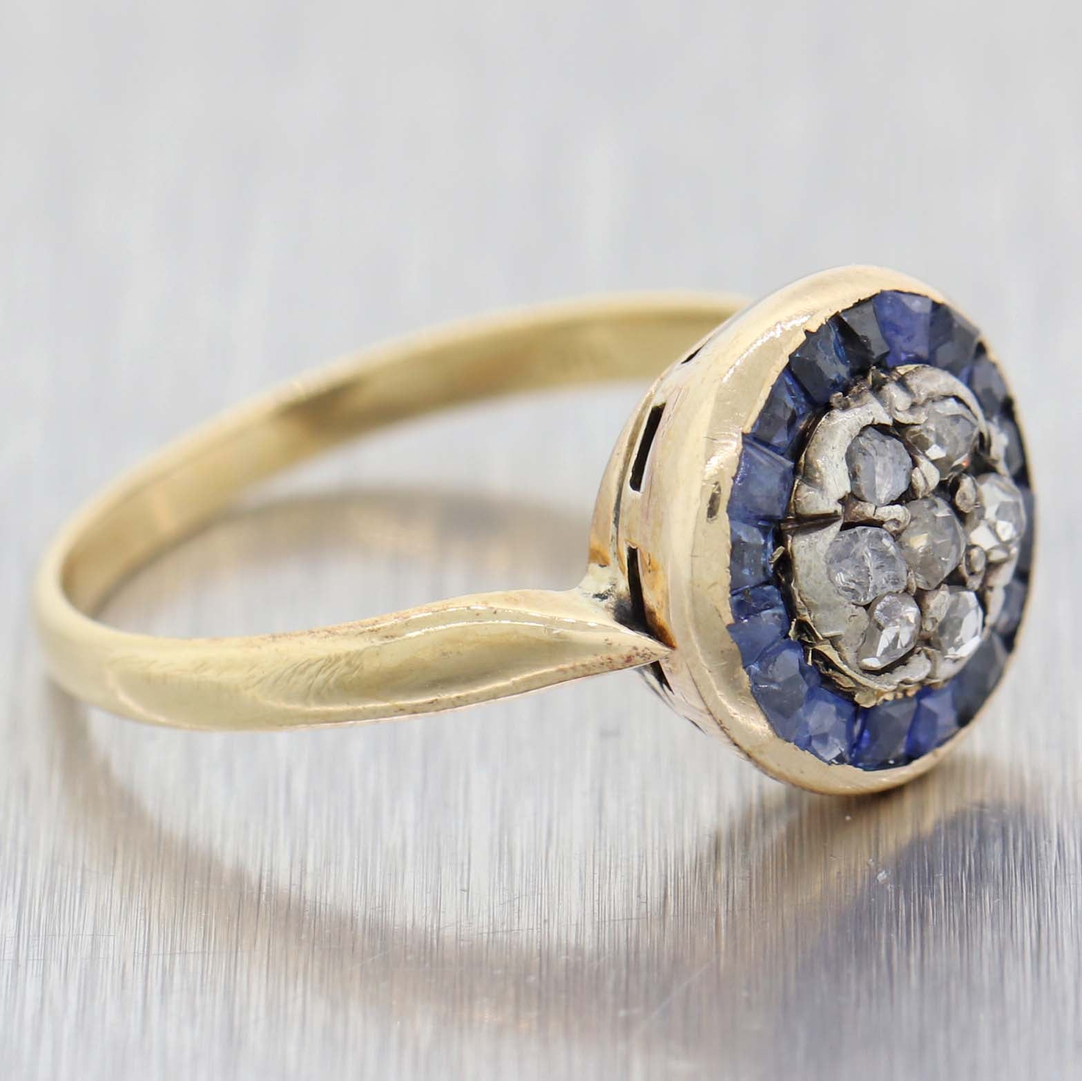 1890s Antique Victorian 18k Yellow Gold Rose Cut Diamond Sapphire Cluster Ring