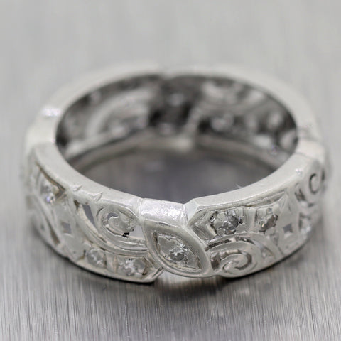 1930's Antique Art Deco Platinum 0.50ctw Diamond Filigree Wedding Band Ring