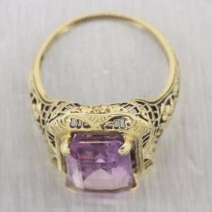 1880's Antique Victorian 14k Yellow Gold Amethyst Filigree Ring