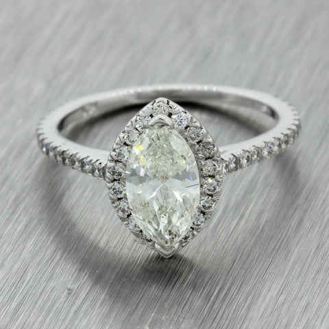 14k Solid White Gold 1.51ctw Marquise Diamond Halo Engagement Ring EGL