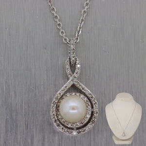 "Modern 14k White Gold 0.25ctw Diamond & Pearl Teardrop 18"" Necklace"