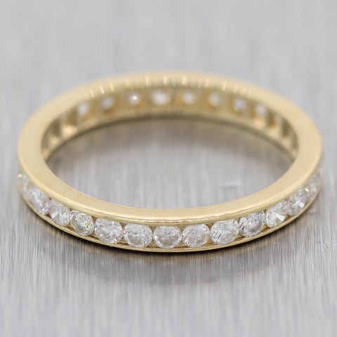 Modern 14k Yellow Gold 1.00ctw Diamond Channel Set Eternity Wedding Band Ring