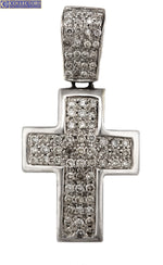 Men's Modern 14K White Gold 1.36ctw Diamond Cross Necklace Pendant 19.0gr
