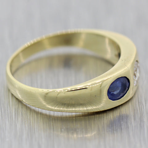 Vintage Estate 14k Yellow Gold 0.45ctw Diamond & Sapphire Wedding Band Ring