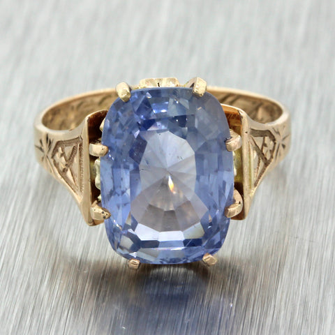 1880s Antique Victorian 14k Yellow Gold 8.34ct Unheated Ceylon Sapphire Ring EGL