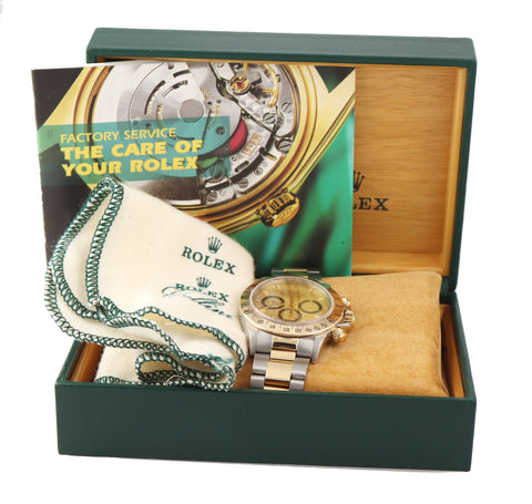 Rolex Daytona 16523 Champagne Zenith 18k Gold Steel Two Tone L Serial Watch Box