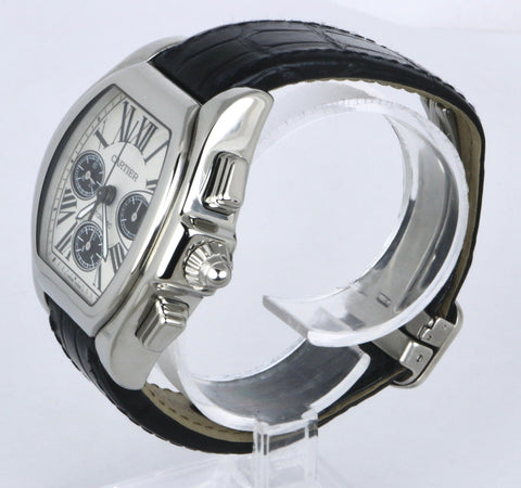 Cartier Roadster Chronograph 3405 W6206020 Black Silver Panda Stainless Steel