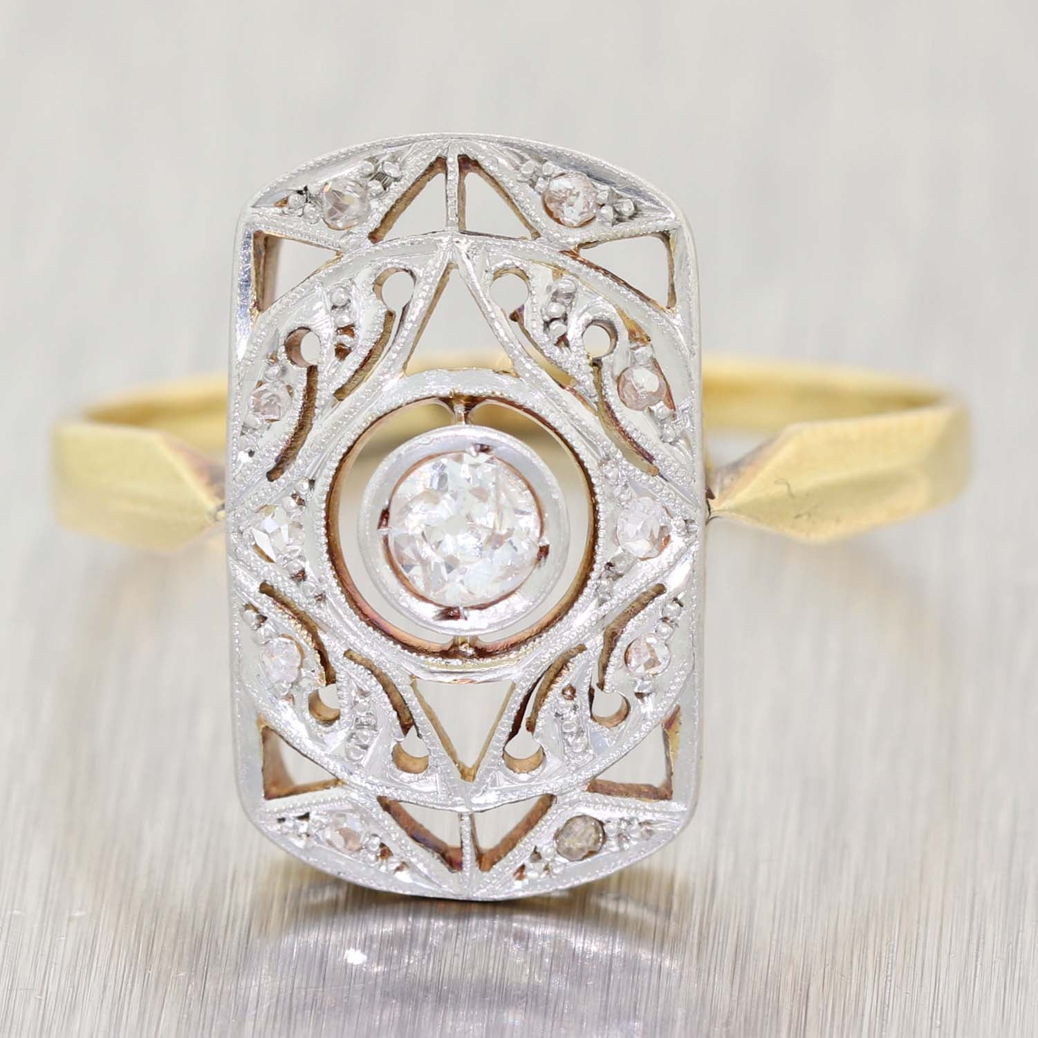 1930s Antique Art Deco Platinum on 18k Yellow Gold .25ctw Diamond Cocktail Ring