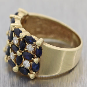 Vintage Estate 14k Yellow Gold 1.40ctw Sapphire & Diamond Band Ring