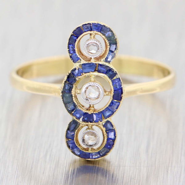 1870s Antique Victorian 14k Yellow Gold Sapphire Diamond Cocktail Ring