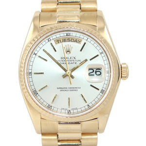 Rolex President 36mm 18038 18k Yellow Gold Champagne Dial Day Date Watch
