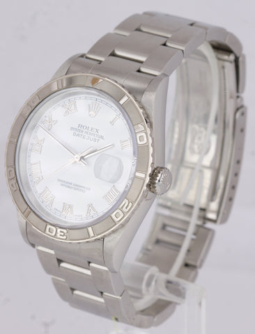 NOS NEW UNWORN Rolex DateJust Turn-O-Graph White Roman 36mm Steel Watch 16264
