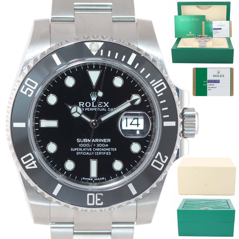 MINT 2017 PAPERS Mint Rolex Submariner Date 116610 Steel Black Ceramic Watch Box