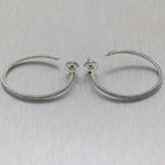 David Yurman Sterling Silver 1.50ctw Diamond Hoop Earrings