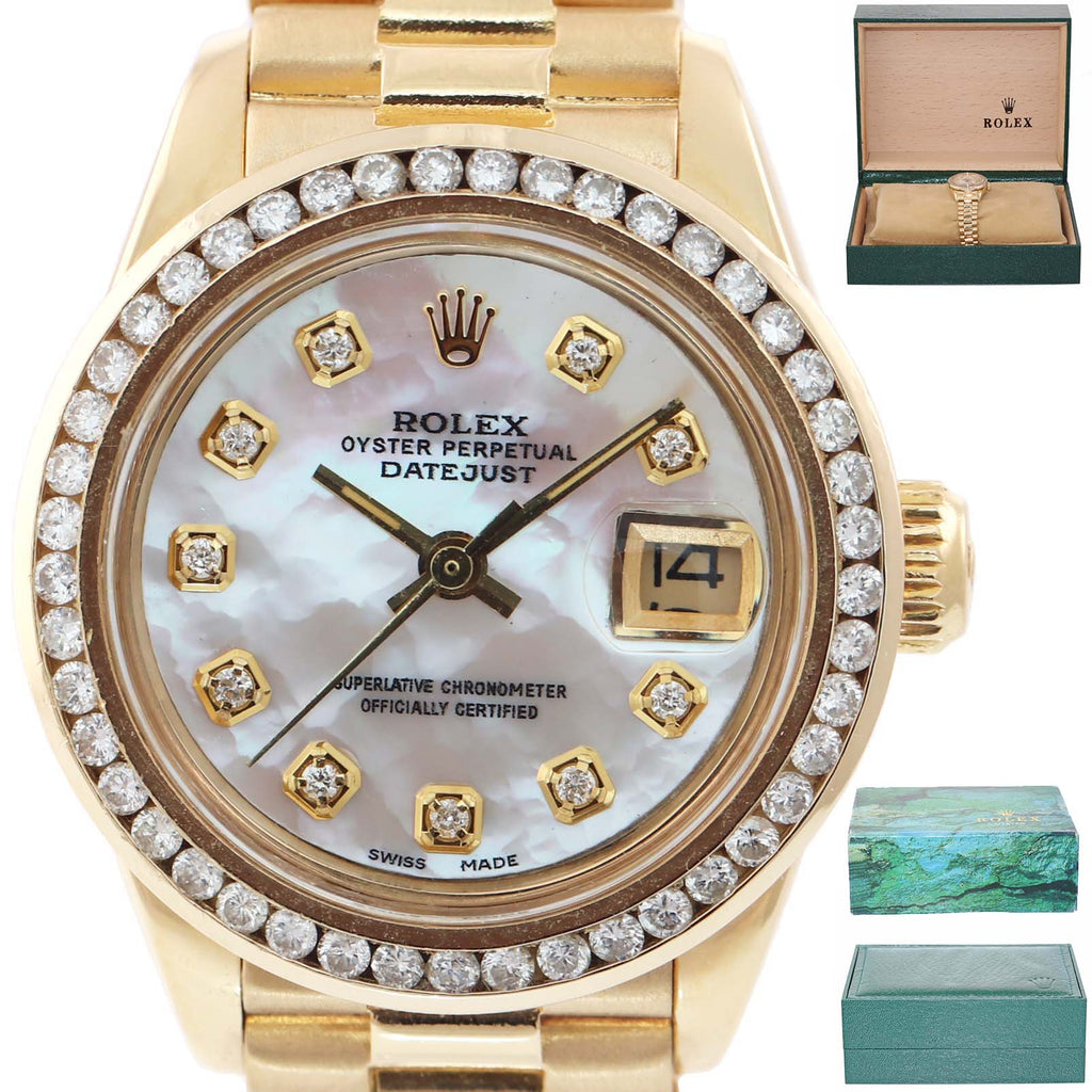 DIAMONDS Ladies Rolex DateJust President 26mm MOP 6917 18k Yellow Gold Watch