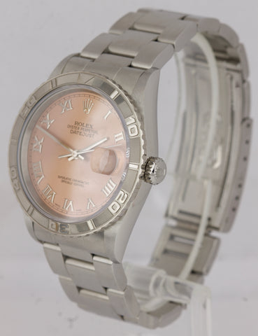 NOS NEW UNWORN Rolex DateJust Turn-O-Graph Salmon Roman 36mm Steel Watch 16264