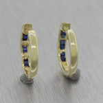 Vintage Estate 14k Yellow Gold 0.50ctw Sapphire Huggie Hoop Earrings