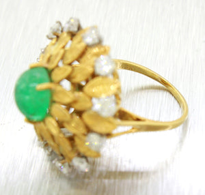 Buccellati 18k Solid Yellow Gold 2.60ct Cabochon Emerald & Diamond Cocktail Ring