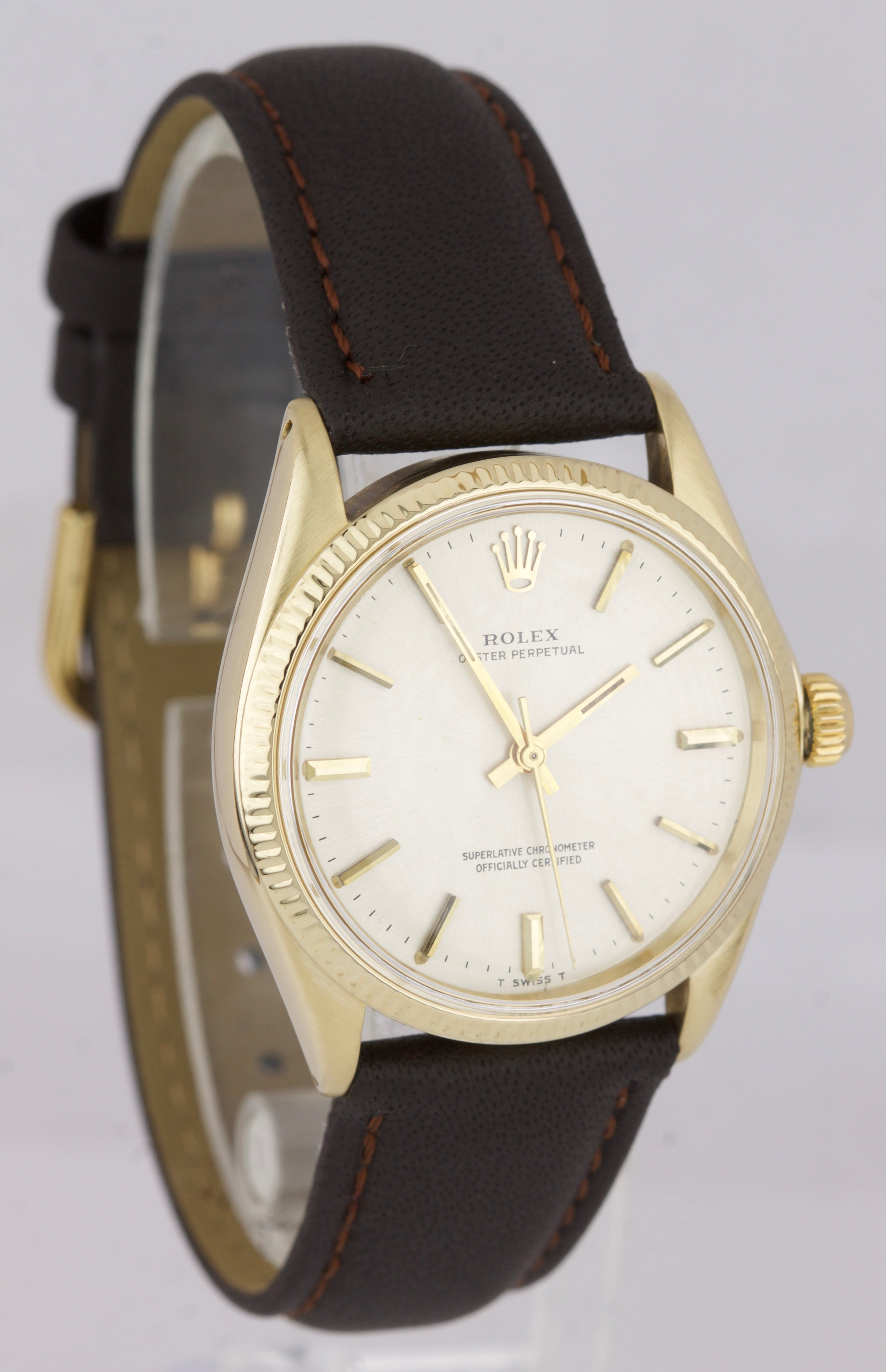 Vintage 1969 Rolex Oyster Perpetual Champagne 18K Yellow Gold Swiss Watch 1005