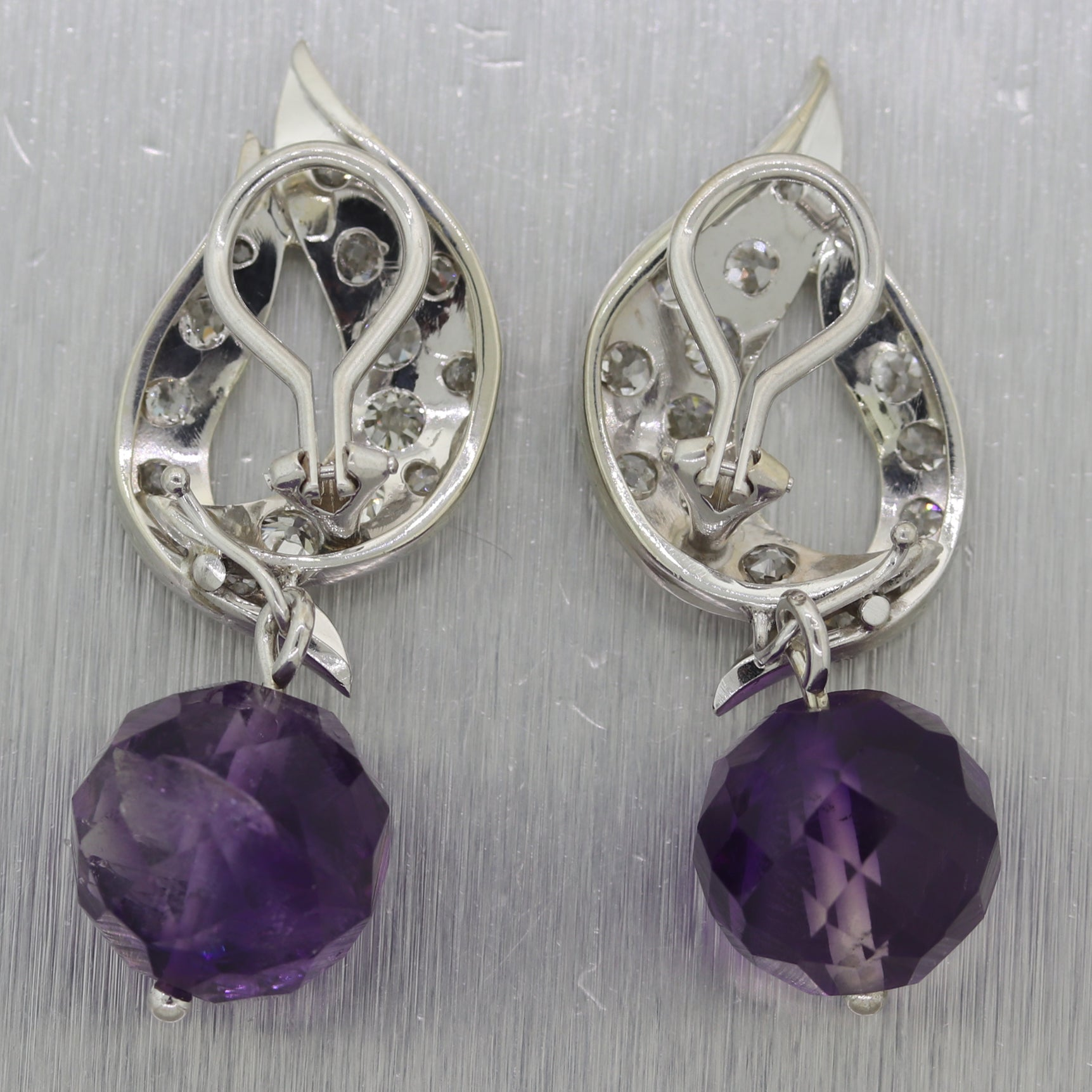 1930s Antique Art Deco 14k White Gold 4ctw Diamond Drop Amethyst Clip-On Earring